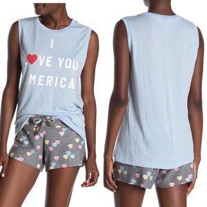 Wildfox Blue American Girl Patriotic Muscle Tank S